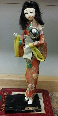 Vintage Japanese Geisha Doll Wooden Stand 11 1/2 in tall no hat tear in fabric