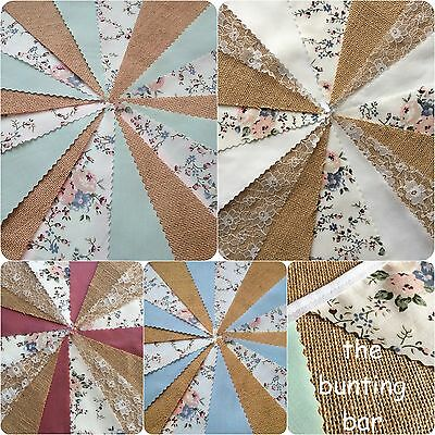 FABRIC HESSIAN BUNTING HANDMADE WEDDING VINTAGE PASTEL FLORAL SHABBY CHIC 3m-12m