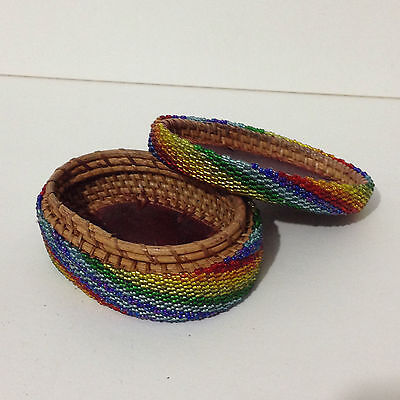 Handmade Beaded Colorful Oval Shape Woven Small Basket with Lid