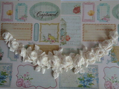 """FRENCH ROSES SWAG GARLAND LG Furniture Applique Pediment 15 1/2"""" x6 1/2"""" x 11/4"""