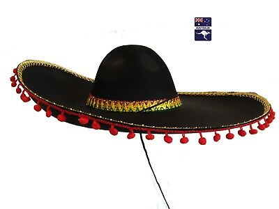 Black Mexican Sombrero Hat Gold Trims Pom Poms Spanish Fancy Dress Party Costume