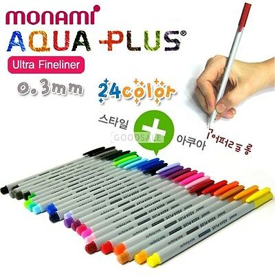 MONAMI Aqua Plus Ultra Fineliner Quick Drying Ink 0.3mm   (Choose 10 color)
