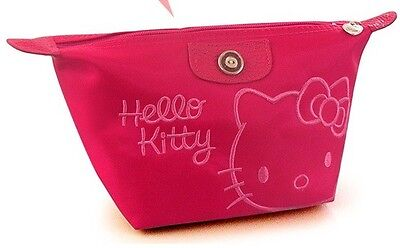 New Hello Kitty Cosmetic Make-Up Hand Bag Rose with Handstrap