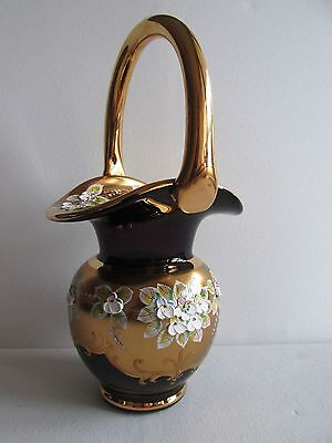 """10.6"""" TALL BOHEMIAN VIOLET GLASS VASE candy, BASKET HAND PAINTED ENAMEL GOLD"""