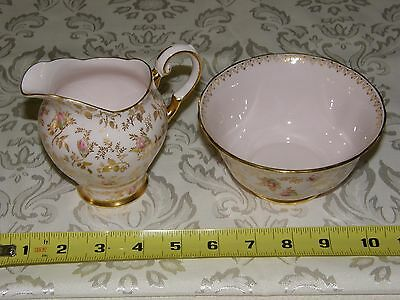 Tuscan Fine China DuBarry Rose Open Sugar and Creamer Gold Chintz and Rose