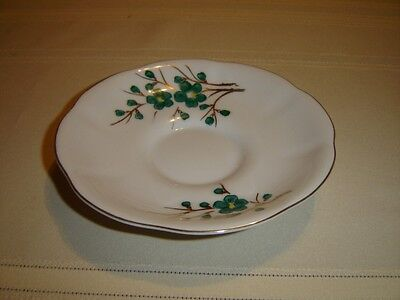 Castle China saucer Japan green and white with scalloped edge VGU (260J)