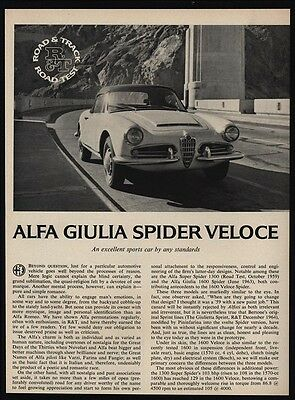 1965 ALFA GUILIA SPIDER VELOCE Convertible Sports Car 3 pg ROAD TEST ARTICLE