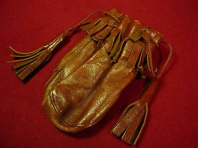 VINTAGE DRAW STRING COIN PURSE MARBLE BAG? BUTTERY SOFT LEATHER NICE