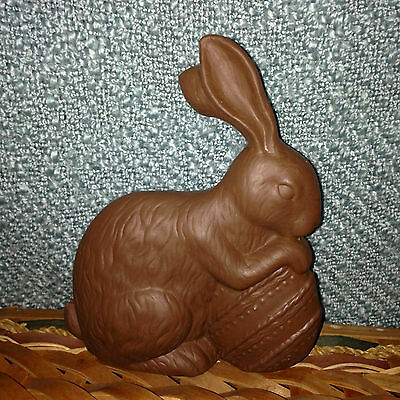 """ONLY 2 LEFT!!  Faux Chocolate Ceramic Easter Bunny Rabbit W/Egg NEW BOX 7 1/2"""""""