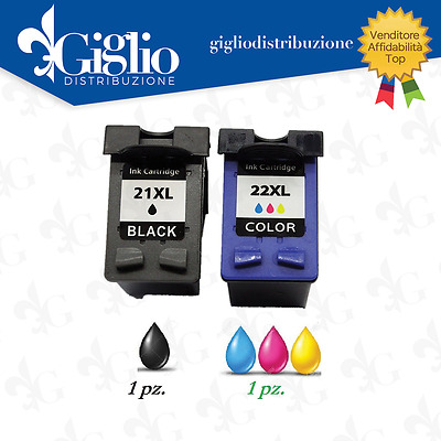 Cartucce Per Hp 21Xl Nera Hp 22Xl Color Kit Da 2 Compatibili