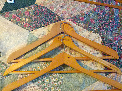 3 Vintage Wooden Coat Hangers lot wood metal shirt/pants clothing 50's or before
