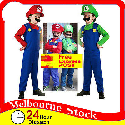 【Express】Kids Super Mario Luigi Brothers Costumes Hat Fancy Party Plumber Boys