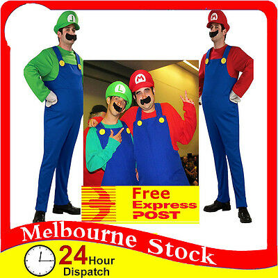 Mens Adult Super Mario Luigi Brothers Costumes Hat Fancy Party Plumber Halloween
