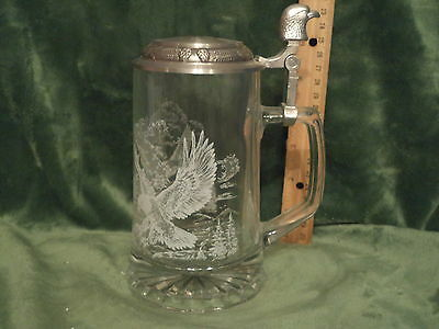 Glass Beer Stein w Eagle Thumblift & Eagle Scene / Stein by Domex