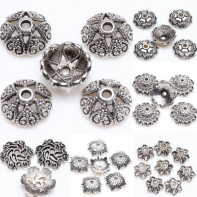 Wholesale Silver Plated Loose Spacer Bead Flower Caps Jewelry Making Finding DIY