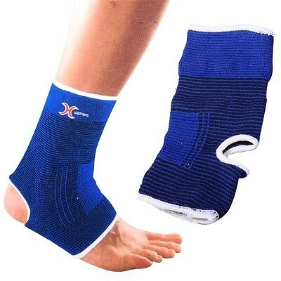 Pair Blue Elastic Ankle Protector Pull On Support Foot Bandage Brace Guard Wrap
