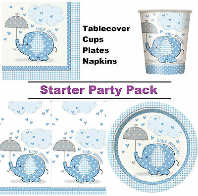 Blue Elephant Baby Shower 8-48 Guest Party Pack - Cups | Plates | Napkins