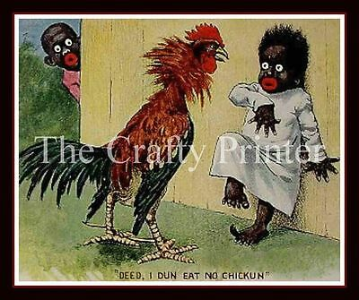 Black Americana MAGNET #01 - Deed I Dun Eat No Chicken (Girl & Rooster)