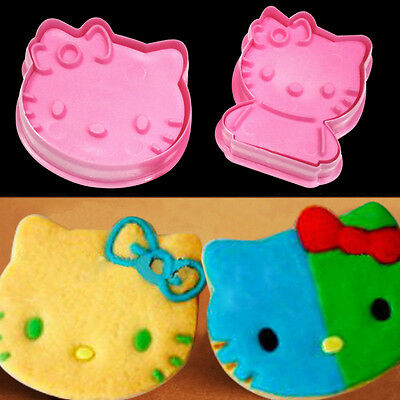 NEW 2pcs Cute Hello Kitty Plunger Cookie Cutters Chocolate Biscuit Cupcake Mold