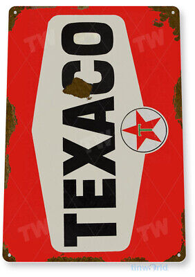 "TIN SIGN ""Texaco Red Rust"" Oil Gas Station Car Service Auto Shop Garage A644"