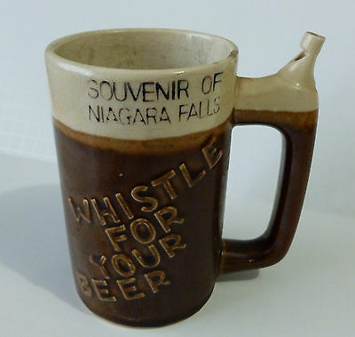 Vintage Collectible WHISTLE FOR YOUR BEER Mug Glass with Whistle Niagara Falls