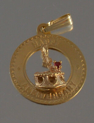 14K GOLD VINTAGE HAPPY ANNIVERSARY  DISC WITH RUBY   PENDANT
