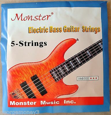 Monster A603EE - Electric Bass Guitar Strings - 5 New - Nickel Round Wound Med