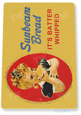 TIN SIGN Sunbeam Bread Batter Whipped Décor Cottage Kitchen Store Farm A633