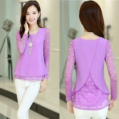 Korean Women OL sexy slim Chiffon bottom shirt lace hollow irregular Tops Blouse