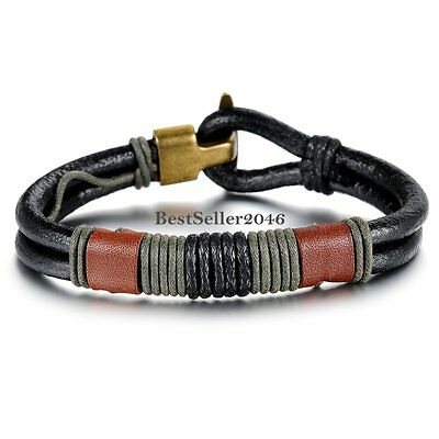 Mens Green Braided Rope Black Leather Double Cord Wrap Bracelet Wristband