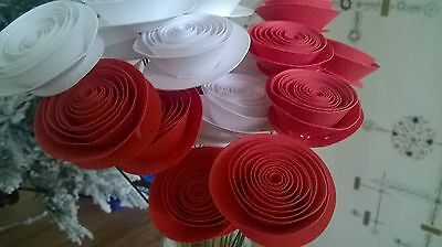 Red & White rose bouquet Paper Flower most popular first anniversary gift LOVE