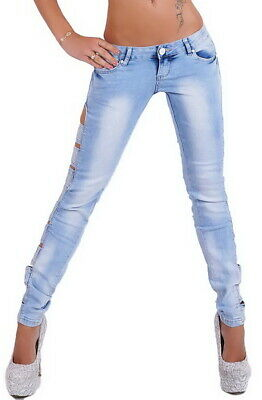 Women's Slim Skinny Cutout Rhinestone Stretch Denim Jeans - XS / S / M / L / XL