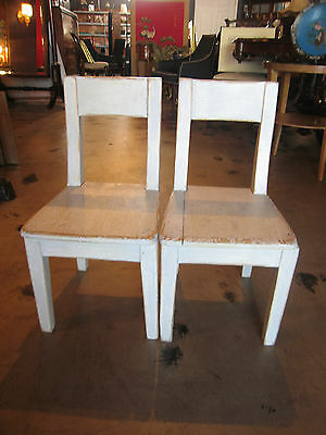 Pair of Vintage Possibly Antique Painted Wood Children's Chairs