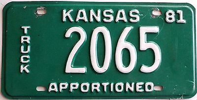 1981 KANSAS Apportioned Truck license plate # 2065