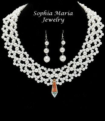 Simply elegant bridal set Collar glass pearl necklace set crystal drop pendant