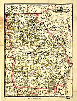 """1883 Georgia State MAP, antique,City, Towns, Railroads, Color, Detailed, 36""""x24"""""""