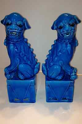 Pair Large Vintage Turquoise Chinese Foo Dragon Lion Dogs PERFECT COND!