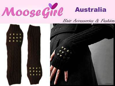 Stud Winter Warm Long Glove Knitted Fingerless Gloves Women Men Teens Arm Warmer