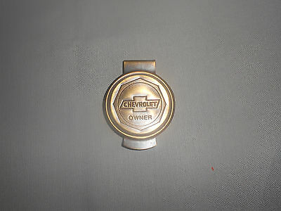 chevy chevrolet owner solid brass money clip holder with vintage antique look