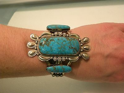 Navajo Signed HUGE Sleeping Beauty Turquoise & Sterling Silver Cuff~~FANTASTIC!!