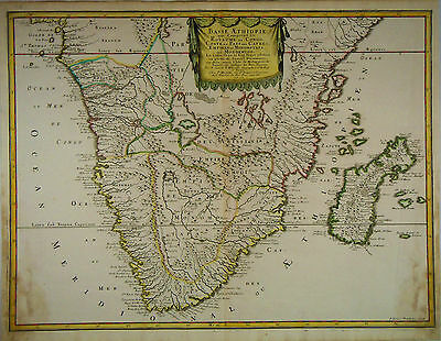 1655 Genuine Antique hand colored map of Southern Africa. by N. Sanson
