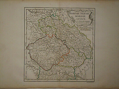 c1780 Genuine Antique colored map Bohemia, Silesia, Lusace, Moravie. De Vaugondy