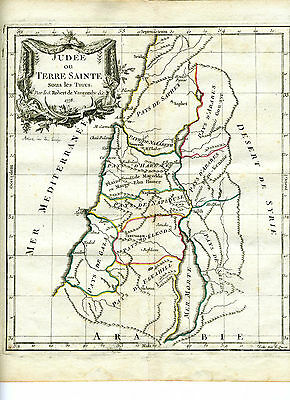 1778 Genuine Antique hand colored map Palestine. De Vaugondy