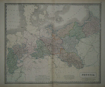 1856 Genuine Antique Large Hand Colored Map of Prussia. G. Philip & Son