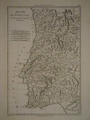 c1770 Genuine Antique map Portugal, Estremadura, mountains, uncolored. Bonne