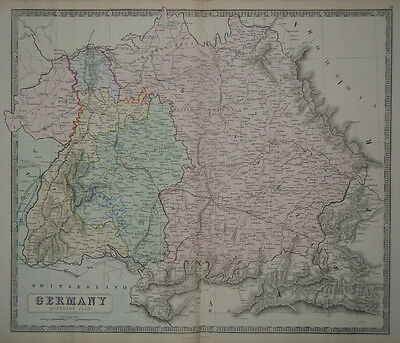 1856 Genuine Antique Large Hand Colored Map Southern Germany. G. Philip & Son