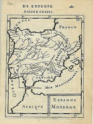 1683 Genuine Antique map of Spain. A.M. Mallet