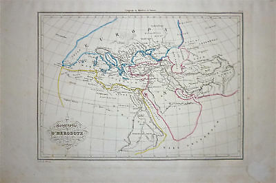 1833 Genuine Antique  map - Herodite World. Malte-Brun