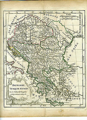 1778 Genuine Antique hand colored map Hungary &Turkey in Europe. De Vaugondy