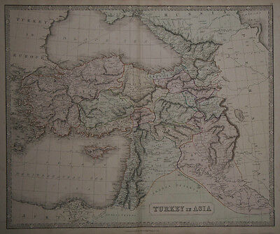 1856 Genuine Antique Large Hand Colored Map Turkey in Asia. G. Philip & Son